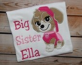 Personalized Big Sister Little Sister Sibling Shirt Paw Patrol Skye