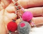Lampwork beads, Keys, Scissors, Zipper Pull, Fob, Silver Hill Tribe beads, Valentines Day, Key Ring, felt, purple, green, pandora