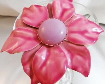 SALE Vintage Pink Lavender Flower Brooch. Large Purple Pink Flower Blossom Pin.