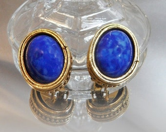 FALL SALE Vintage Blue Lapis Lazuli Earrings. Glass Faux Lapis Lazuli Earrings.