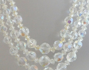 FALL SALE Vintage Austrian Crystal Necklace.  Clear.  Wedding.  Bridal.