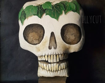 SKULLpture No.14 - anatomical soft sculpture, memento mori, science, human skull, ivy, vanitas, halloween