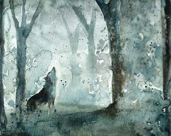 Wolf-Original watercolor painting 8x10inch-Landscape- Nature art-home decor