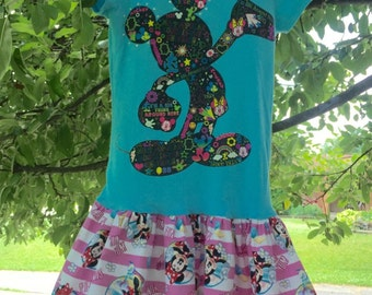 Mickey Minnie upcycled t-shirt dress, Size 6-8, ready to ship, turquoise, pink, Disney, birthday, play, summer