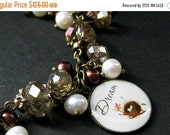 VALENTINE SALE Bird Nest Charm Bracelet in Fresh Water Pearl, Taupe Crystals and Bronze. Handmade Bracelet.