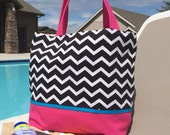 Chevron Diaper Bag, Tote Bag, Beach Bag, Pool Bag, Extra Large - Black and White Chevron Zig Zag Striped