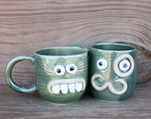 VALENTINES DAY His Hers Gifts for the Couple. Mr Mrs Matching Mug Set. Opposites Attract Unlikely Couple Face Mugs. Green. Funny Ug Chugs.