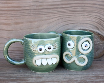 His Hers Gifts for the Couple. Mr Mrs Matching Mug Set. Opposites Attract Unlikely Couple Face Mugs. Green. Funny Ug Chugs.