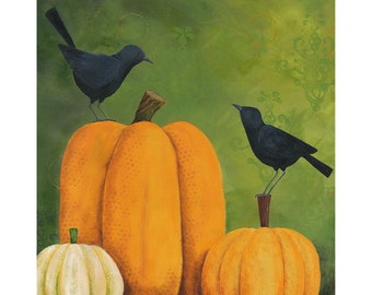 Pumpkin Patch Friends Art Print 8x10 or 11x14