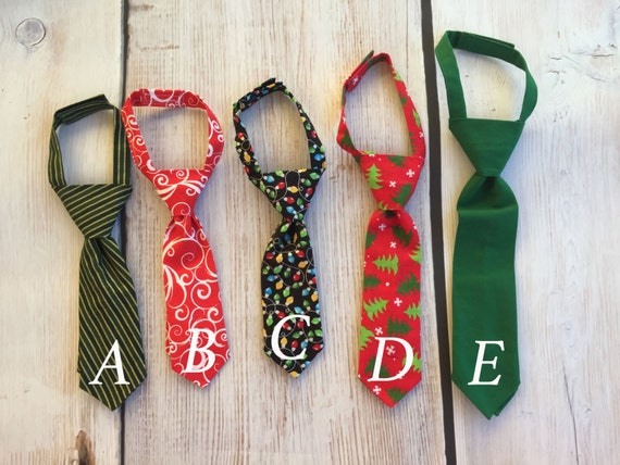 Christmas Ties, Little Guy Boys Necktie Tie Bowtie - Baby boy, Infant, Toddler, Youth, Man, Daddy- Baby Shower Gift- Red, Green