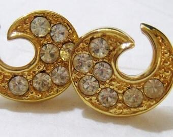 small gold tone with clear rhinestones swirl pierced earrings
