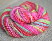 Cherry Fresh - Bluefaced Leicester (BFL) singles handspun striping yarn - worsted/aran weight, 209 yards