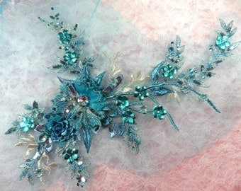 """Embroidered Applique Rhinestone Center Turquoise Floral 3D Sequin Patch 14"""" (DH70-tr)"""