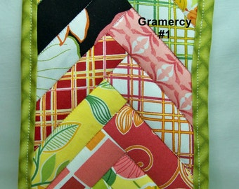 PK Quilted Plate Pad in Gramercy #1  - Pot Holder - Hot Pad - Plate Pad - One of a Kind - Ready To Ship