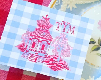 Gingham pagoda folded notecards