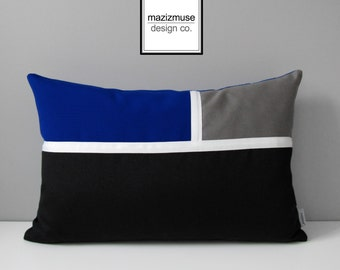 Decorative Royal Blue Pillow Cover, Modern Outdoor Pillow Cover, Color Block Pillow Case, Black White Grey Sunbrella Cushion Cover Mazizmuse