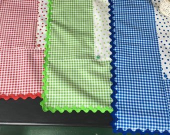 Retro polka dot and gingham oilcloth tablecloths