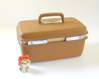 Vintage Samsonite Train Case • Brown Suitcase Traincase