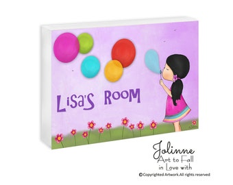Personalized Kids Art Door Plaque for Girls Room Nursery Decoration Ideas Baby Room Gift Custom Name Hair and Skin Color Home Decor artork