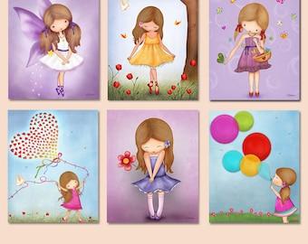 Children wall decor,art for kids room,art for nursery, girls purple room decor, fairy, art prints for kids room, girls wall art,playroom art