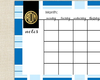 Calendar Desk Pad - Monthly Calendar - TORY Collection by A Blissful Nest - Blue