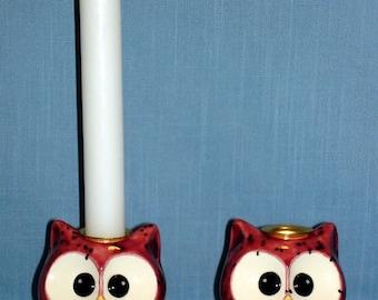 Owl Candlesticks (Cranberry Frost)