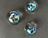 Set of 3 small handmade glass paperweights