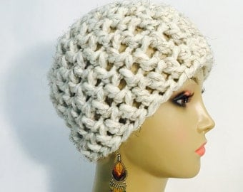 Thick White Crocheted Hat