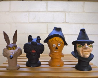 SALE!!!   Puppet Heads Plastic Wizard of Oz and Willee Coyote