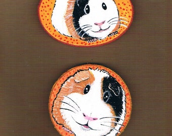 Hand Painted Guinea Pig Magnet Set, Mixed Media Collage, Guinea Pig refrigerator Magnets, Set of Two