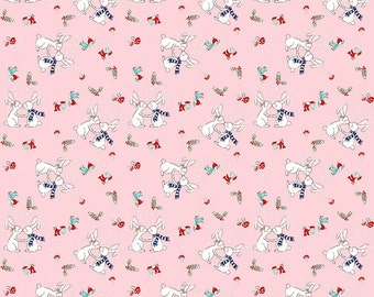 Pixie Noel Riley Blake Elf Christmas Holiday Fabric Snowy Winter Forest Bunny Rabbits and Elves on Pink