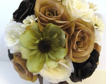 "Wedding Silk Flowers Bridal Bouquet BROWN Green MOSS CHAMPAGNE Cream 17 Piece package Artificial Bouquets arrangements  ""RosesandDreams"""