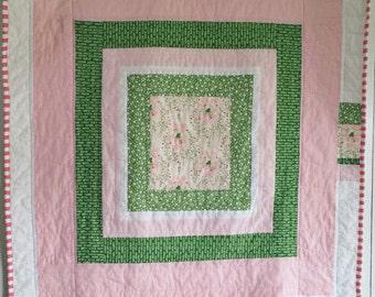 Charming Girl Quilt, Modern Quilt, Baby Quilt, Crib Quilt- Pink Quilt