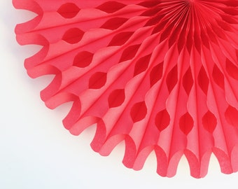 "18"" Red Tissue Paper Fan, Red Honeycomb Fan, Birthday Party Decor, Wedding Decor"