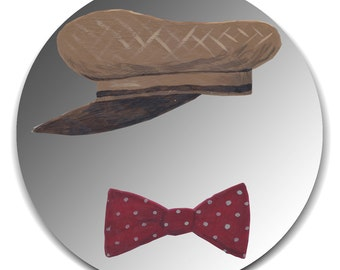 Hand painted mirror - Gentleman with Brown Wool Cap and Bowtie