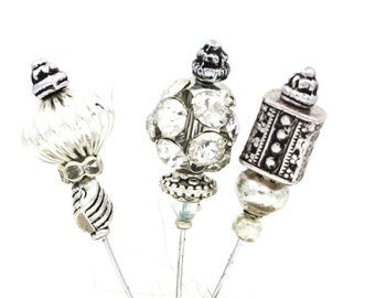 Stick Pins- Set of Three  -Silvers