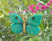 Turquoise Happy Face BUTTERFLY ORNAMENT, Hand Carved Collectable Ornament