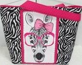 Hot Pink Girly Zebra Love Large Tote bag Zebra Shoulder Bag Alternative Fashion Rocker Chic Market Bag  Ready to Ship