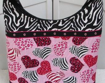 Wild At Heart Crossbody Tote Bag  , Alternative Fashion Heart Tote , Polka Dot Market bag , Love Hearts Shoulder Bag ,  Ready To Ship