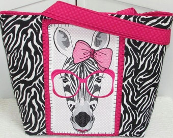 Hot Pink Girly Zebra Love Large Tote bag Zebra Shoulder Bag Alternative Fashion Rocker Chic Market Bag  Ready to Ship