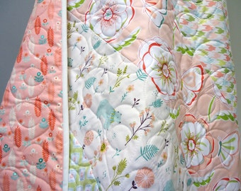 Cottage Chic Quilt-Baby Girl-Woodland-Modern-Shabby Chic-Garden Bears-Butterflies-Floral in Pink with Blue and Green