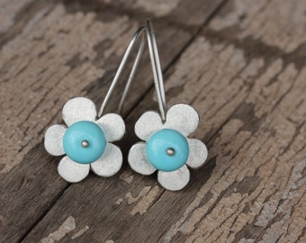 Large Turquoise Silver Flower Dangle Earrings Whimsical Blue Floral Southwest December Birthstone Boho Gemstones Gift Idea Her - Sky Flowers