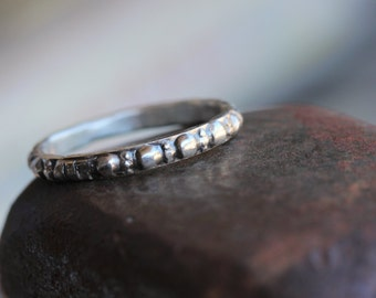 Primitive Textured Silver Stacking Ring Delicate Tribal Beaded Stamped Embossed Uneven Rustic African Vintage Inspired Band - Lost in Time