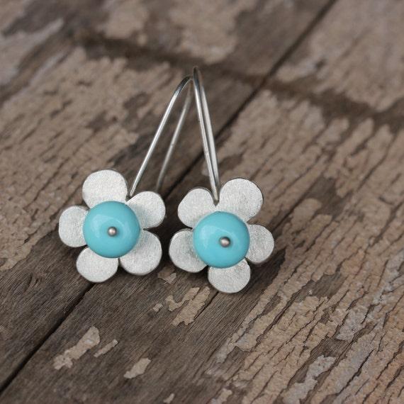 Large Turquoise Silver Flower Dangle Earrings Whimsical Blue Floral Southwest Trending Summer Boho Gemstones Gift idea For Her - Sky Flowers