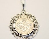 1963 birthday gift. Lucky Sixpence necklace. 1963 jewelry gift. 53rd birthday gift. 53rd birthday ideas. 53rd birthday gifts for women