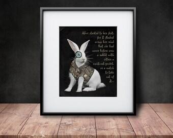 Steampunked White Rabbit - Art Print