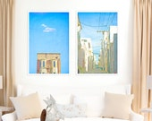 San Francisco Streets // SET OF 2 Large Photography Prints // Turquoise Blue California Art for a Large Wall // San Francisco Art - SF Tops