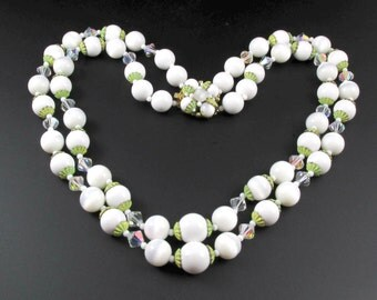 White Bead Necklace, White Necklace, Crystal Necklace, Multi Strand Necklace, Layered Necklace