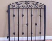 Custom steel gate with scroll top and collars in black