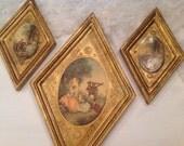 Italian Florentine Pictures ~ Vintage Gold Gilt Pictures ~ Victorian Pictures ~ Florentia made In Italy ~ Diamond Shaped ~ French Decor